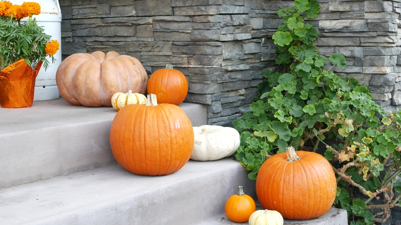 Decorate stairs with pumpkins