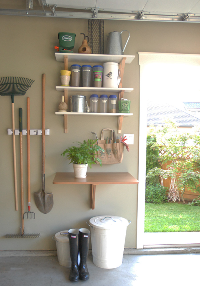 Drop leaf shelf in garage