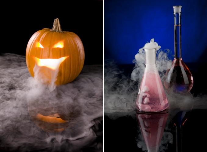 Dry ice to create a unique pumpkin for Halloween