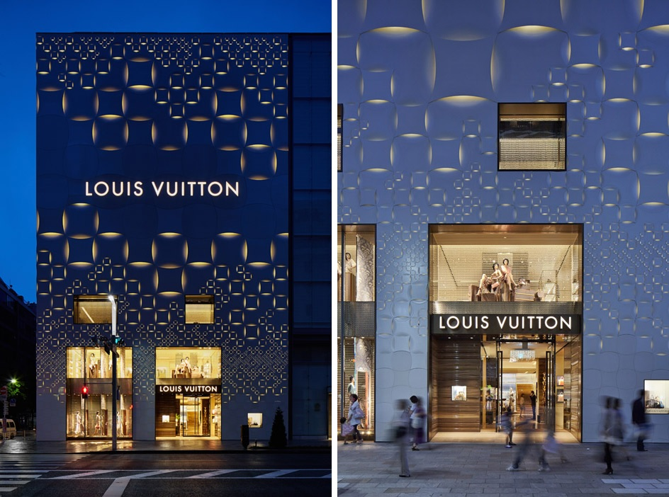 Facade of the Louis Vuitton store in the Ginza