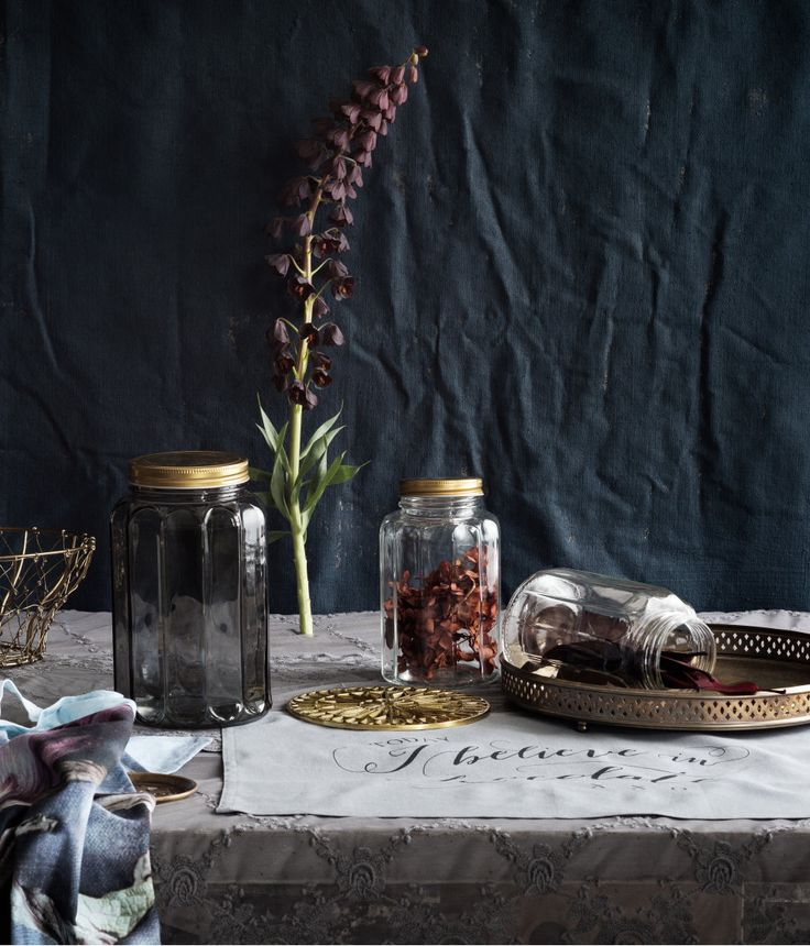 Faceted glass jars