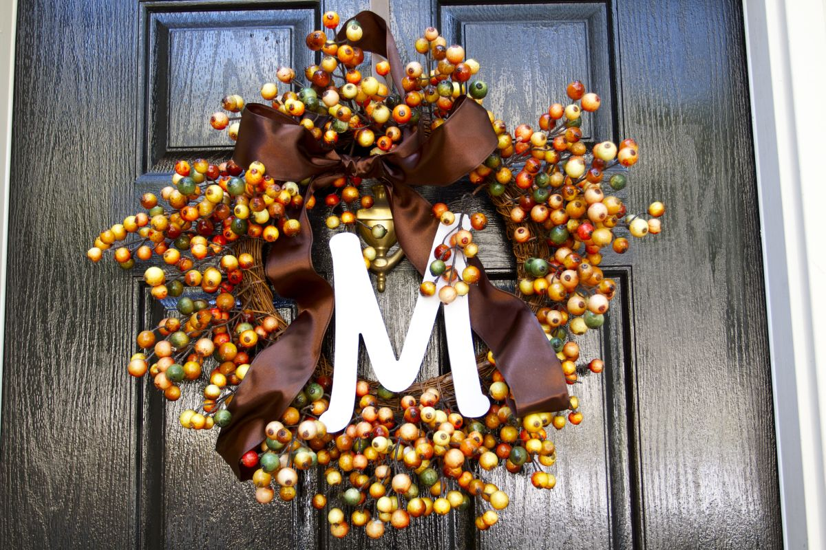 Fall Monogram Door Wreath