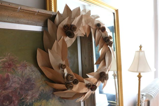 Fall Wreath from Recycled Grocery Bags