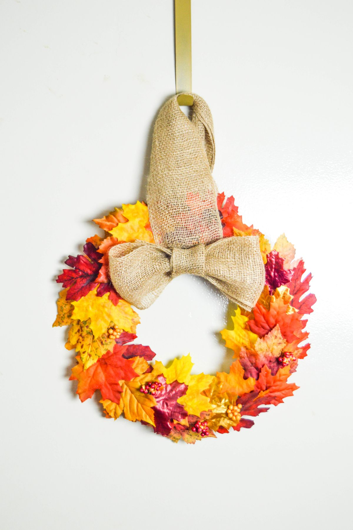 Faux leaves fall wreath