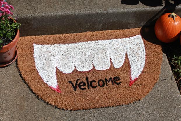 Festive vampire doormat design