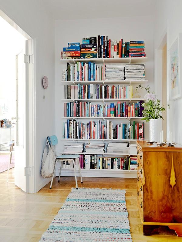 Floating shelves for library