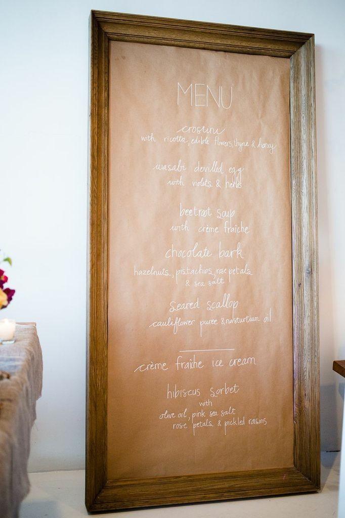 Framed menu on wall for friendsgiving