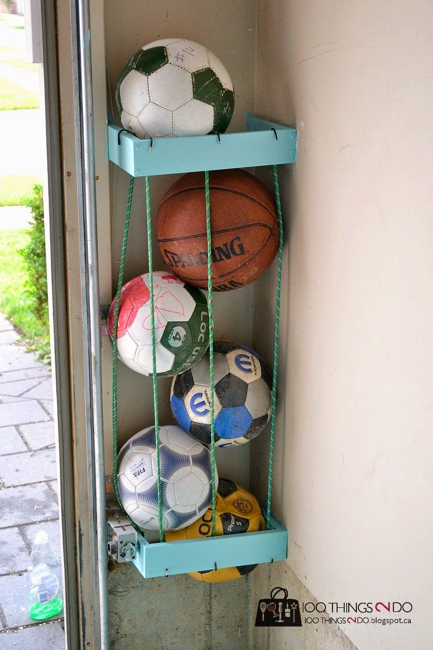 Garage storage for balls with cords