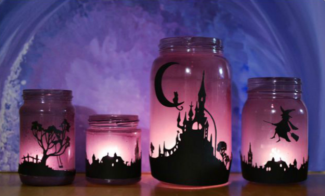 Glowing halloween lanterns