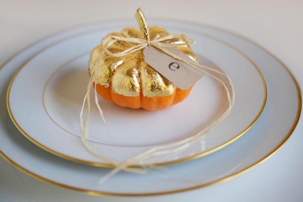 Gold leafing pumpkin