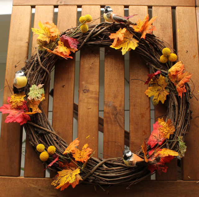 Grapevine wreath with few bird decorations