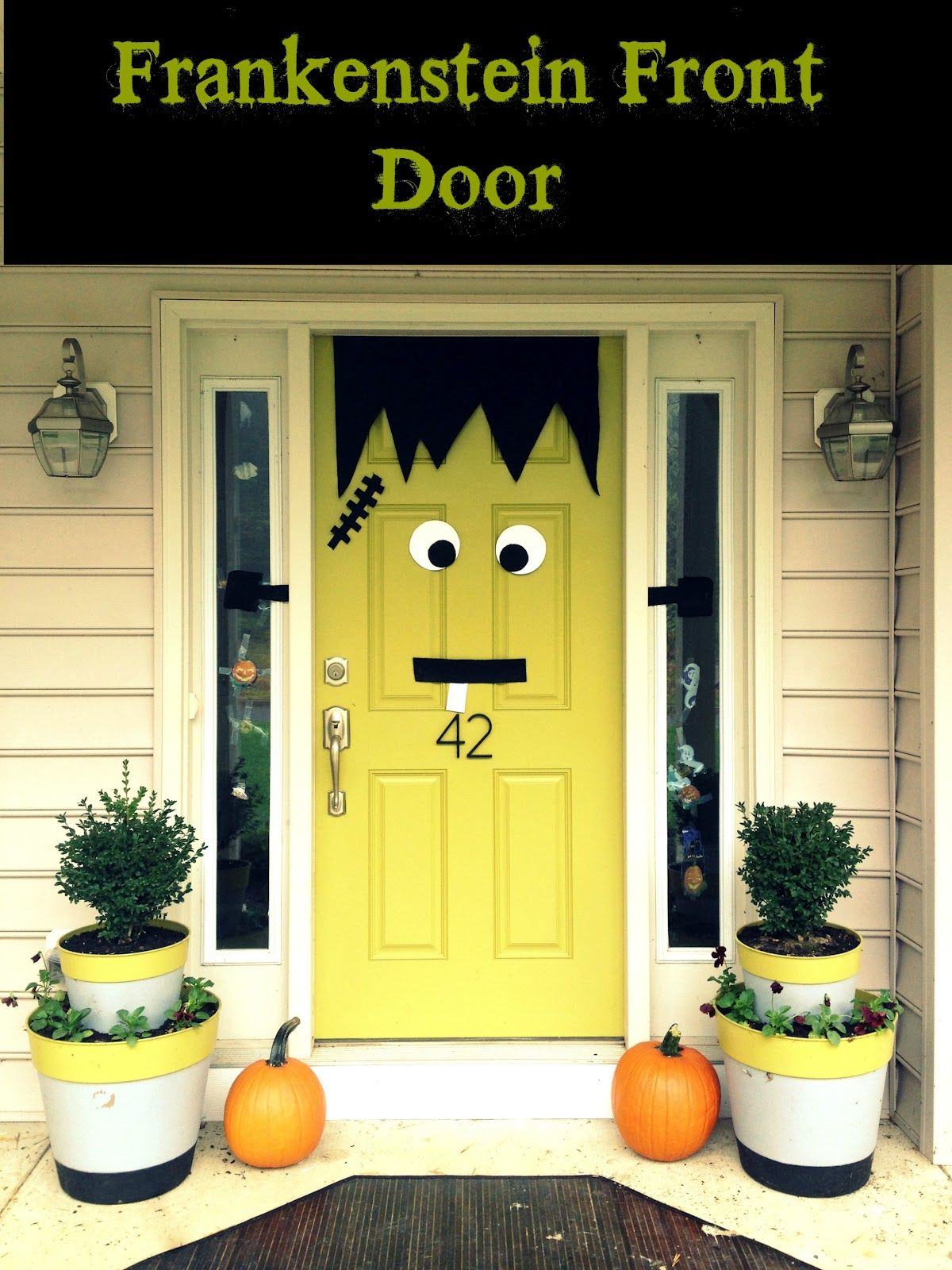 Green front door design for halloween