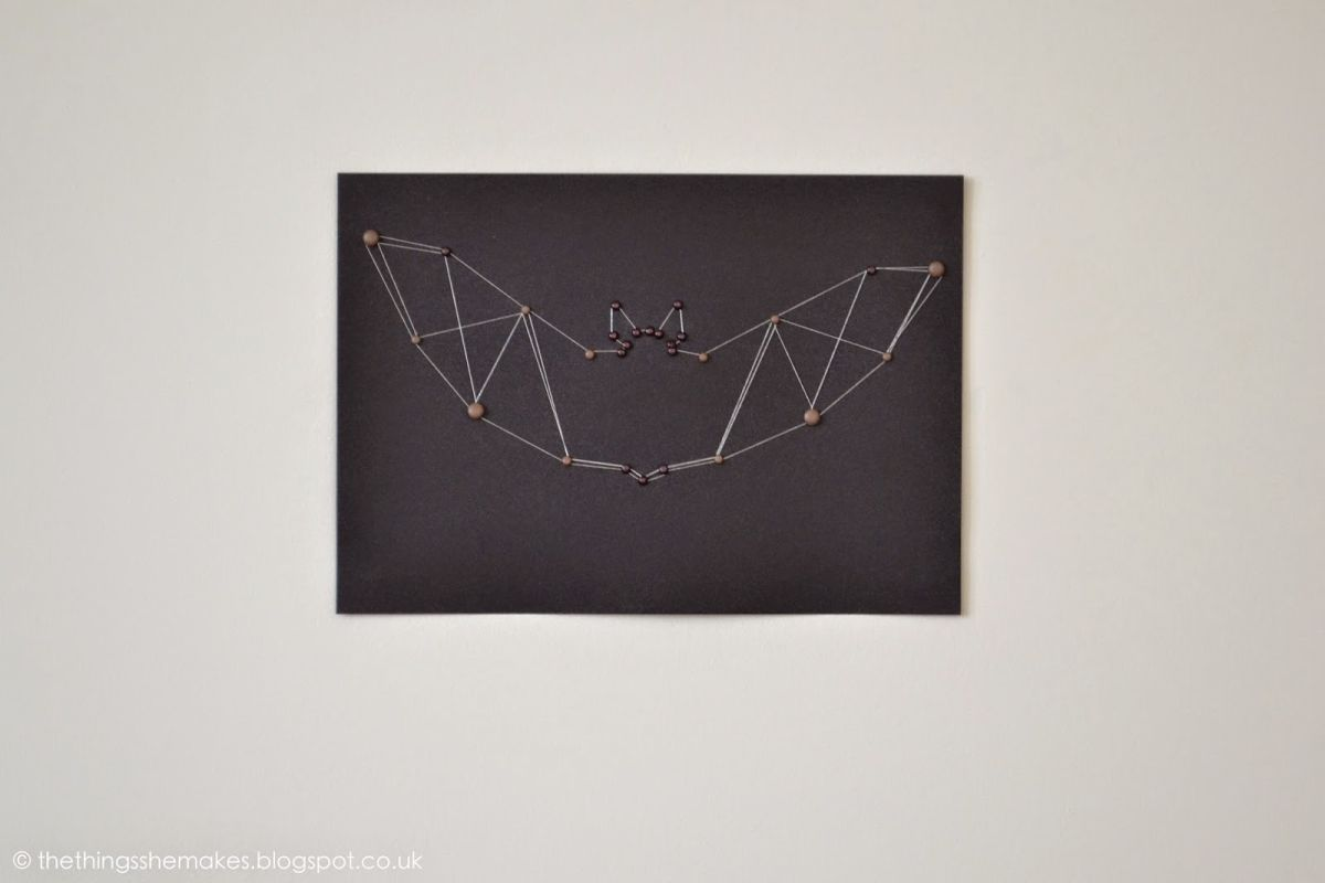 Halloween Bat Brad & Thread Art