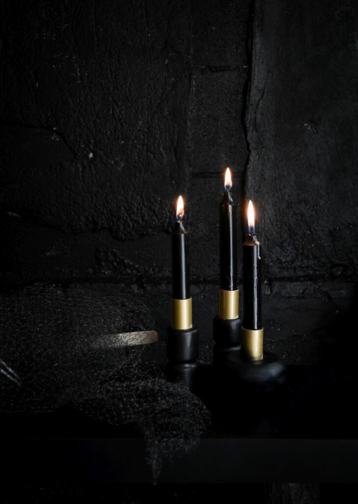Halloween Black and gold candle holders
