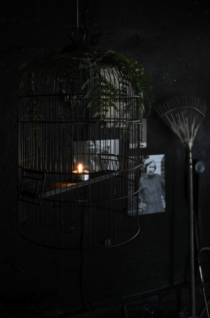 Halloween Chandelier From A Bird Cage
