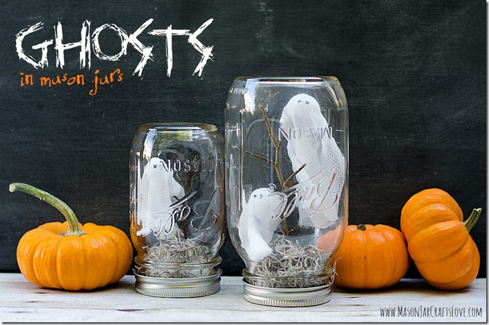Halloween ghosts in mason jars