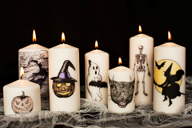 Halloween picture candles