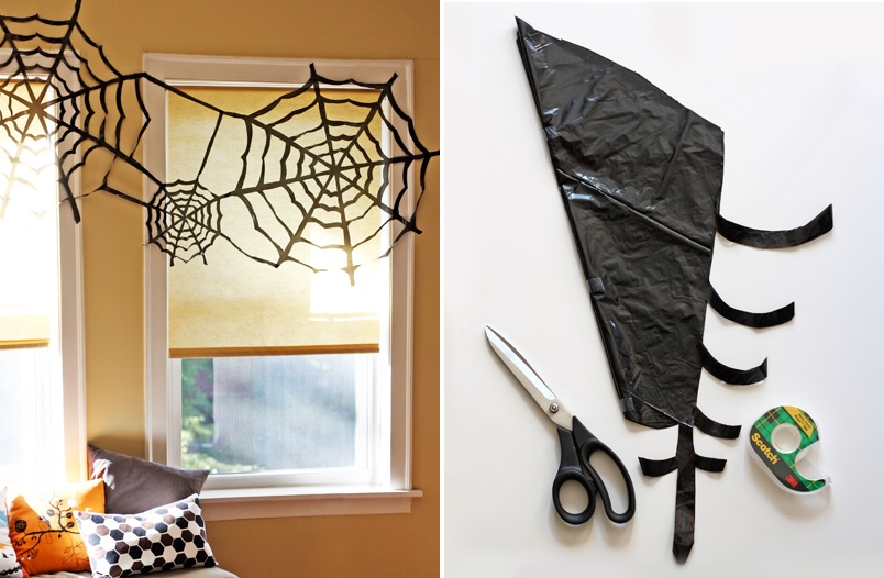 Halloween window spider web