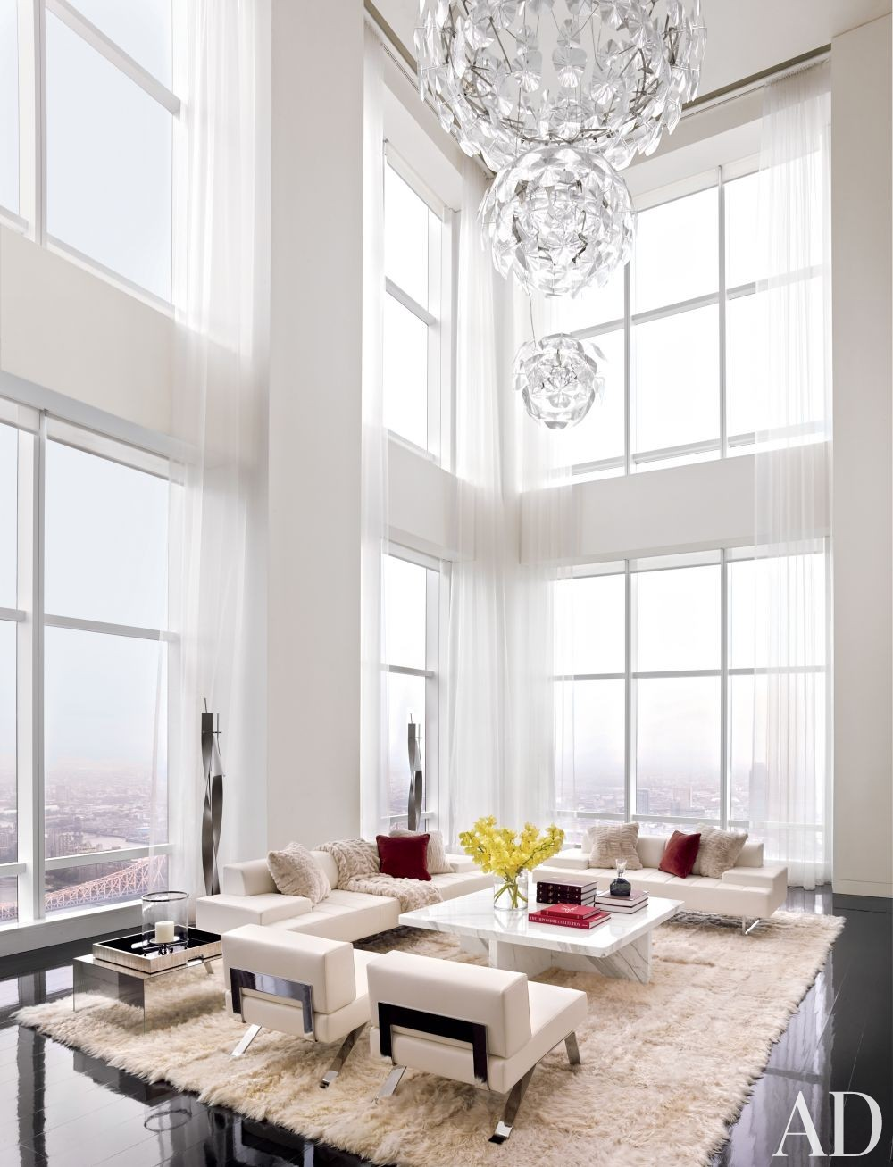 High and light living room design