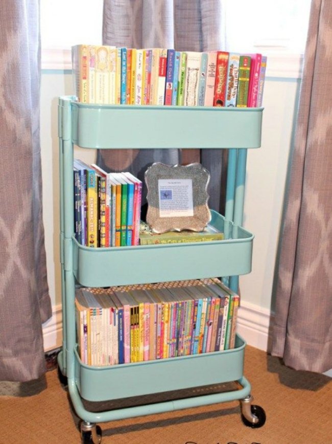 Storing Books In Small Spaces Part - 19: IKEA Cart Book Storage