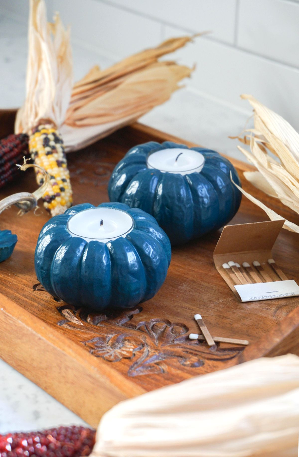 Jewel Tone Pumpkin Votives Decor