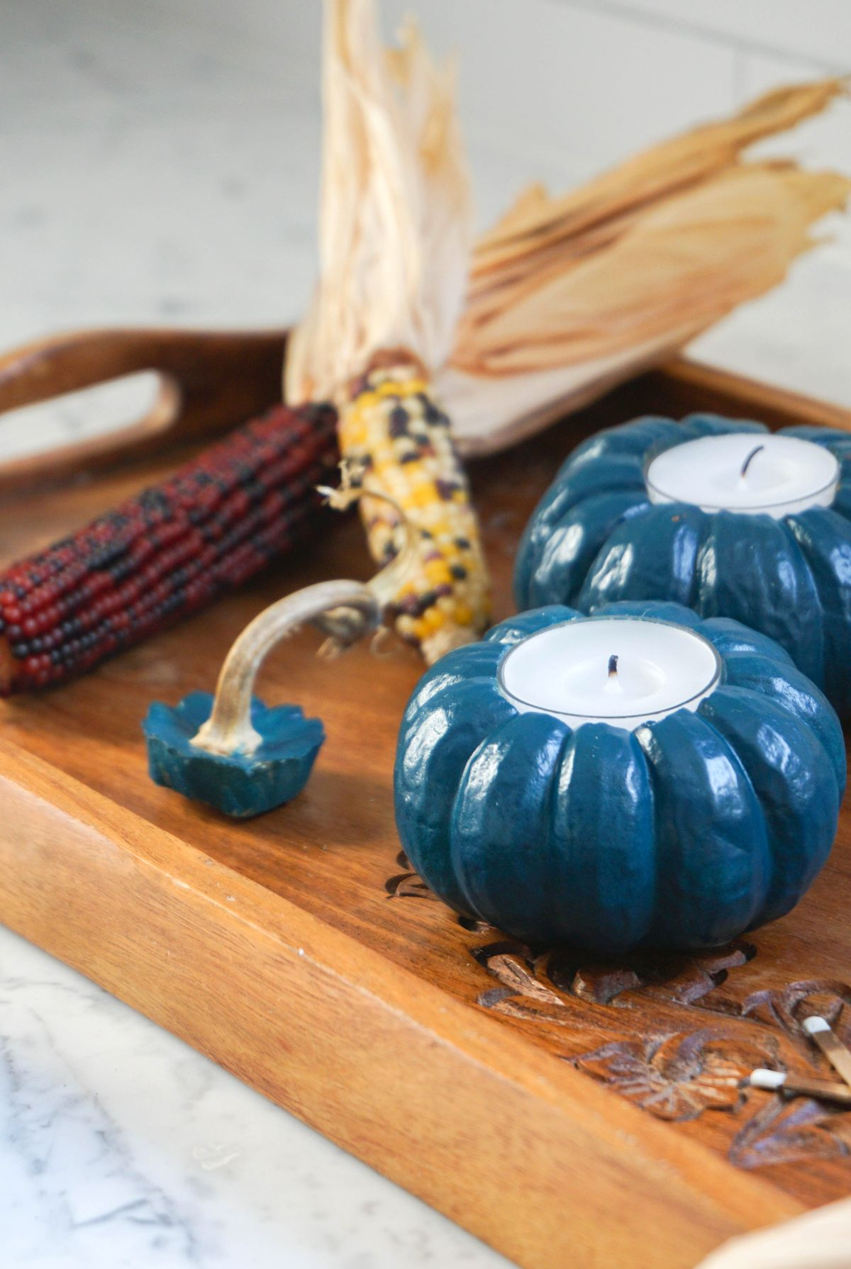Jewel Tone Pumpkin Votives Wood tray