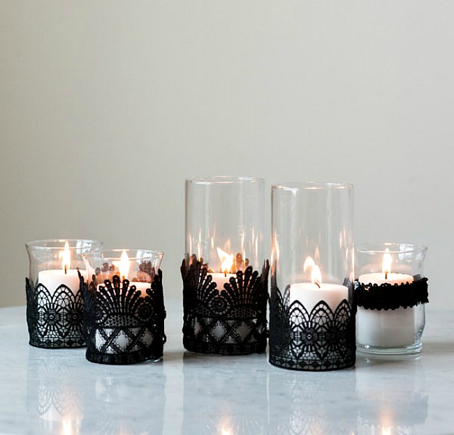 Lace wrapped votives