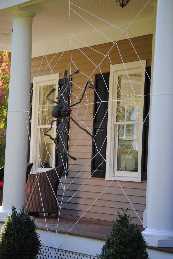 Large porch spider web for Hallowen