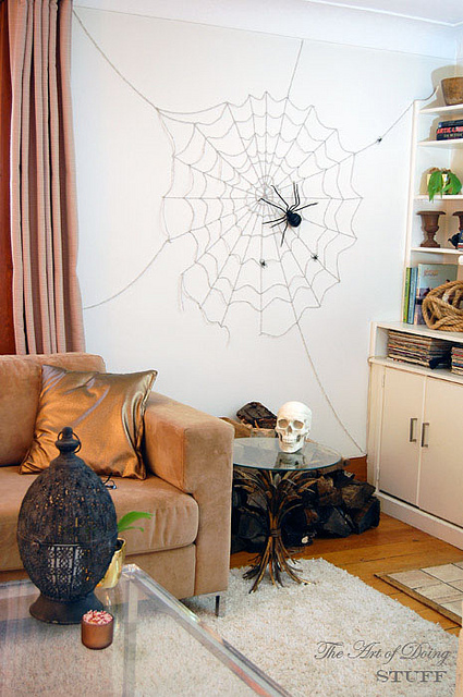 Living room spider web for halloween