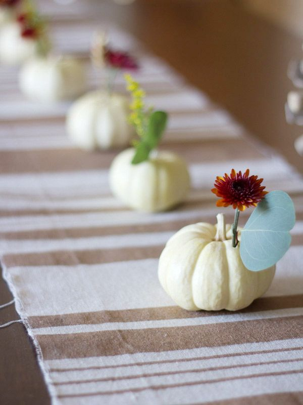 Mini pumpkins as table centerpiece