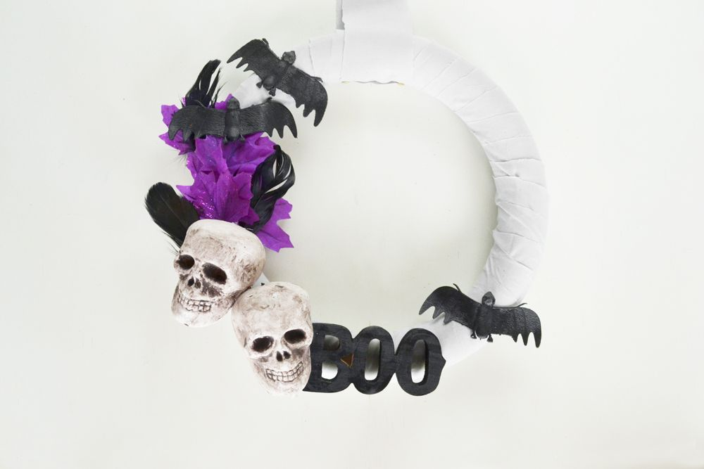 Modern white Halloween Wreath