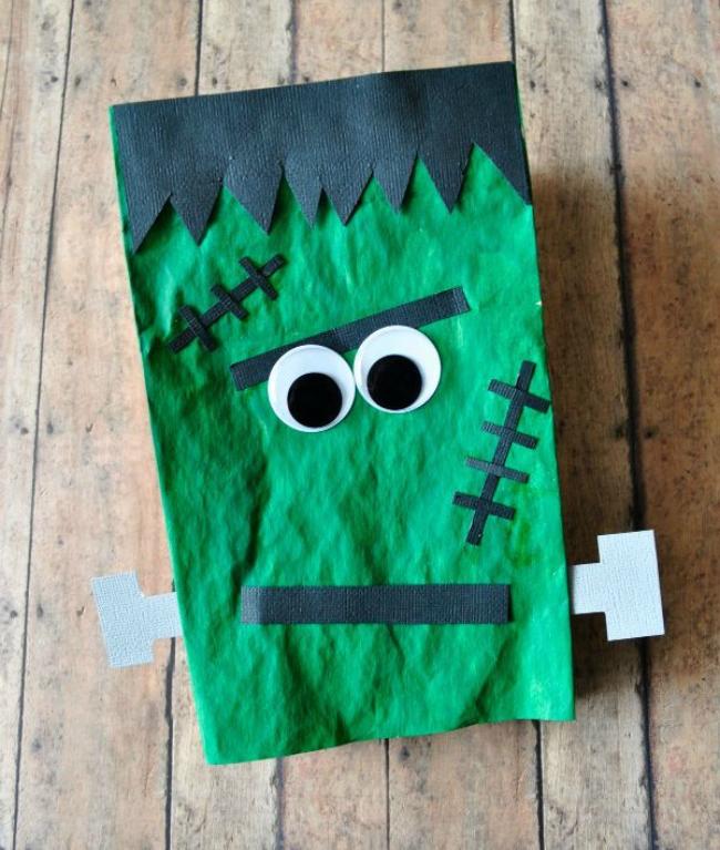 Paper bag Frankenstien puppet