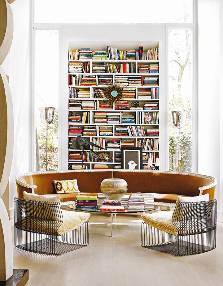 Perfect round sofa for home library