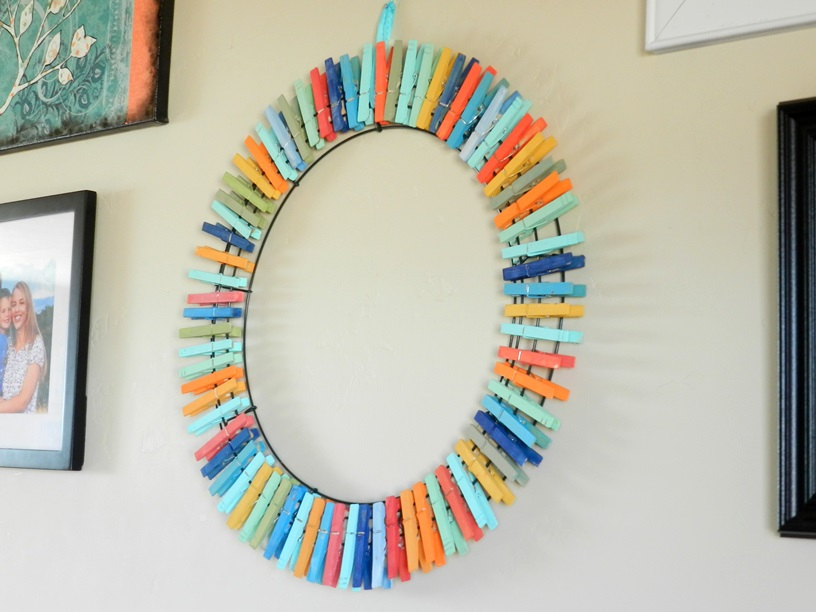 Recycle clothes pins wreath