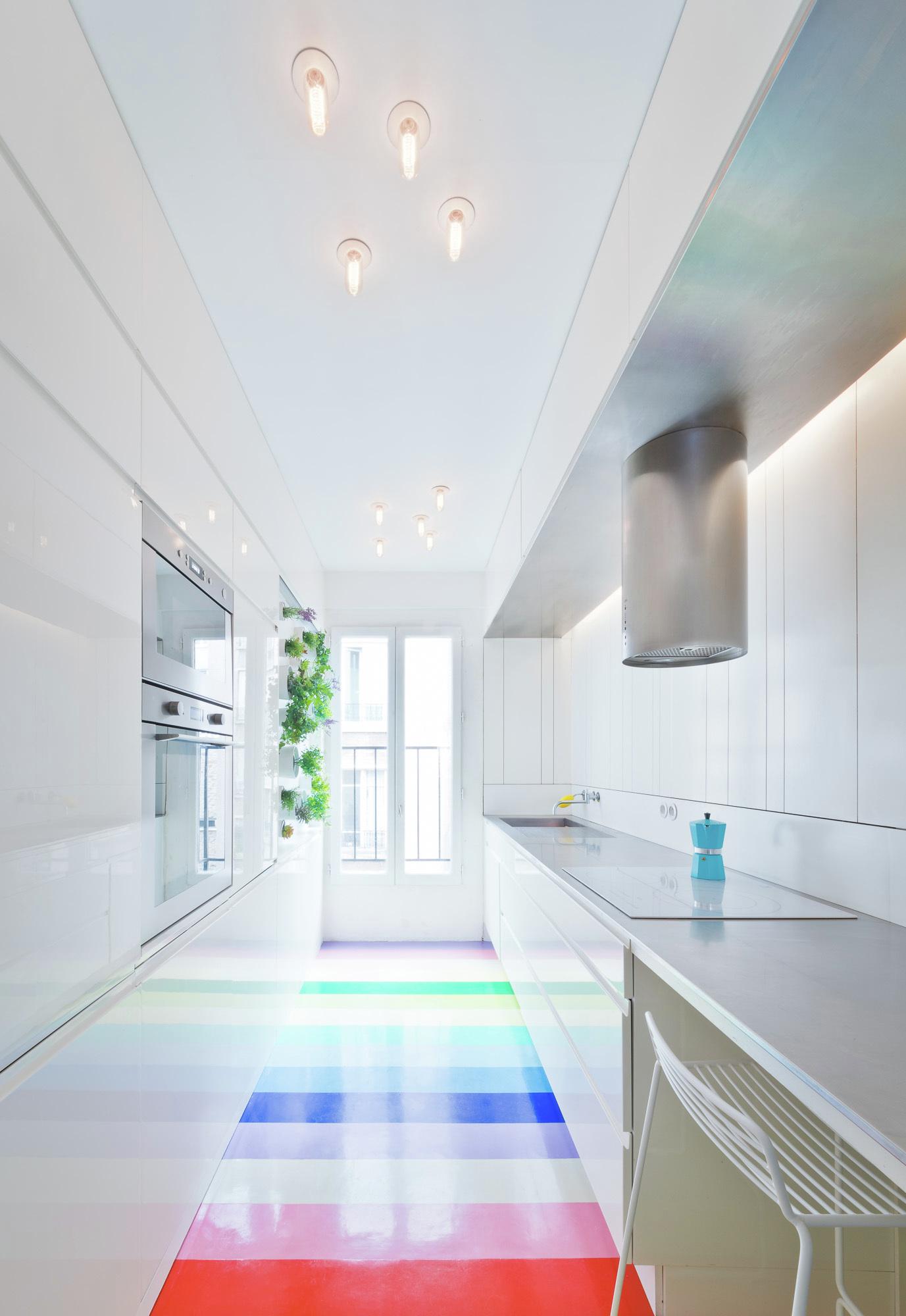 Redesigned Paris apartment kitchen floor