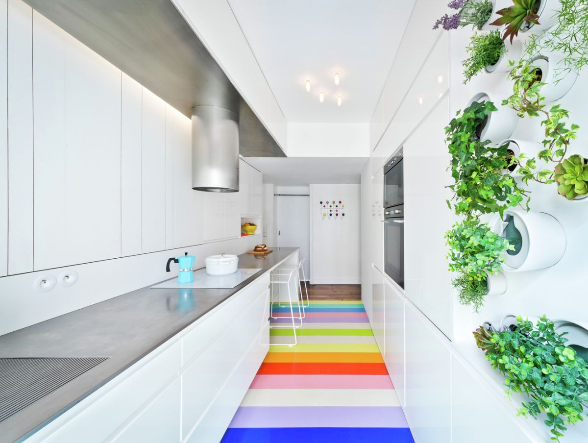 Redesigned Paris apartment kitchen rainbow floor