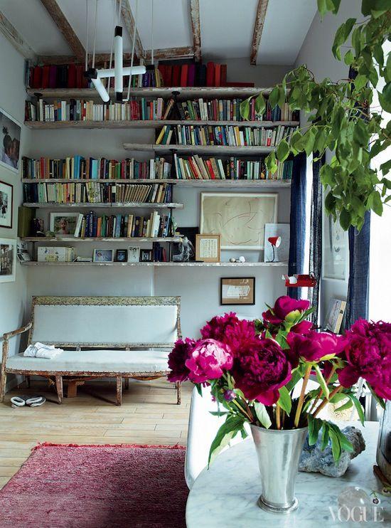 Rustic grey library room