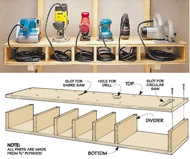 Power tool shelves  sc 1 st  Homedit & DIY Storage Solutions For A Well-Organized Garage