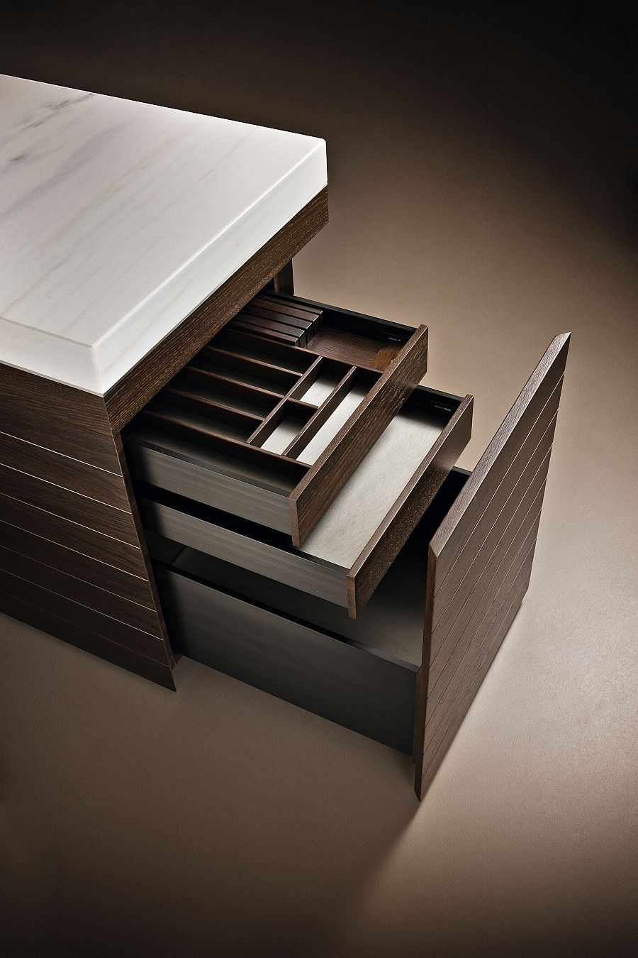 Smart hidden drawers for kitchen