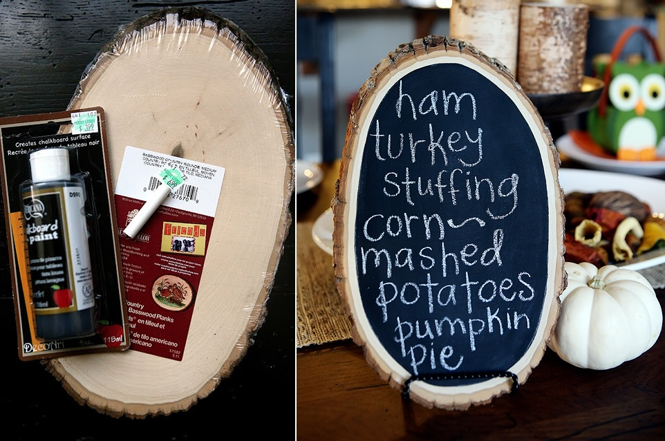 Thanksgiving menu on a sliced wood