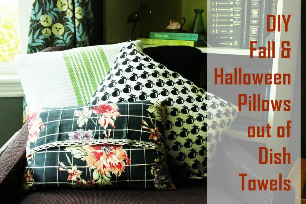 Turn Dish Towels into DIY Halloween Pillows