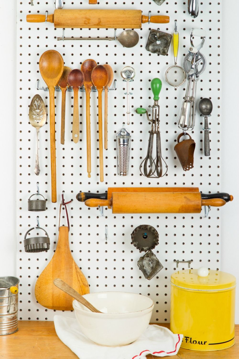 Use pegboards to organize kitchen tools