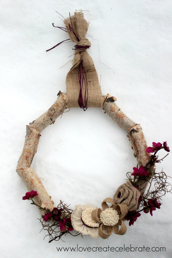 Using twigs and branches for wreath