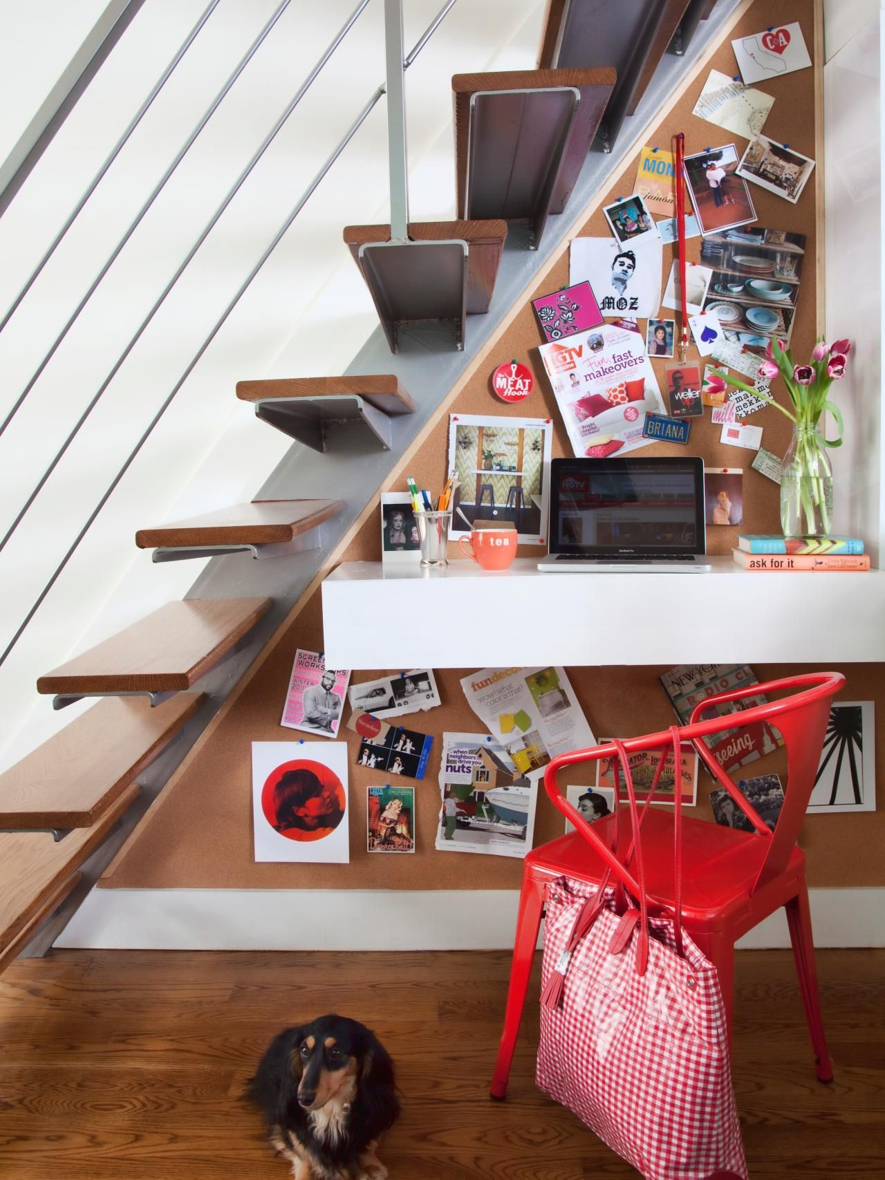 Utilize the small space under the stairs