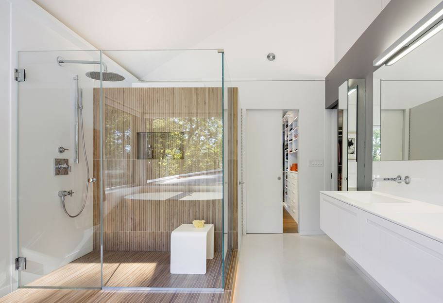 Walk in shower design with niche for storage