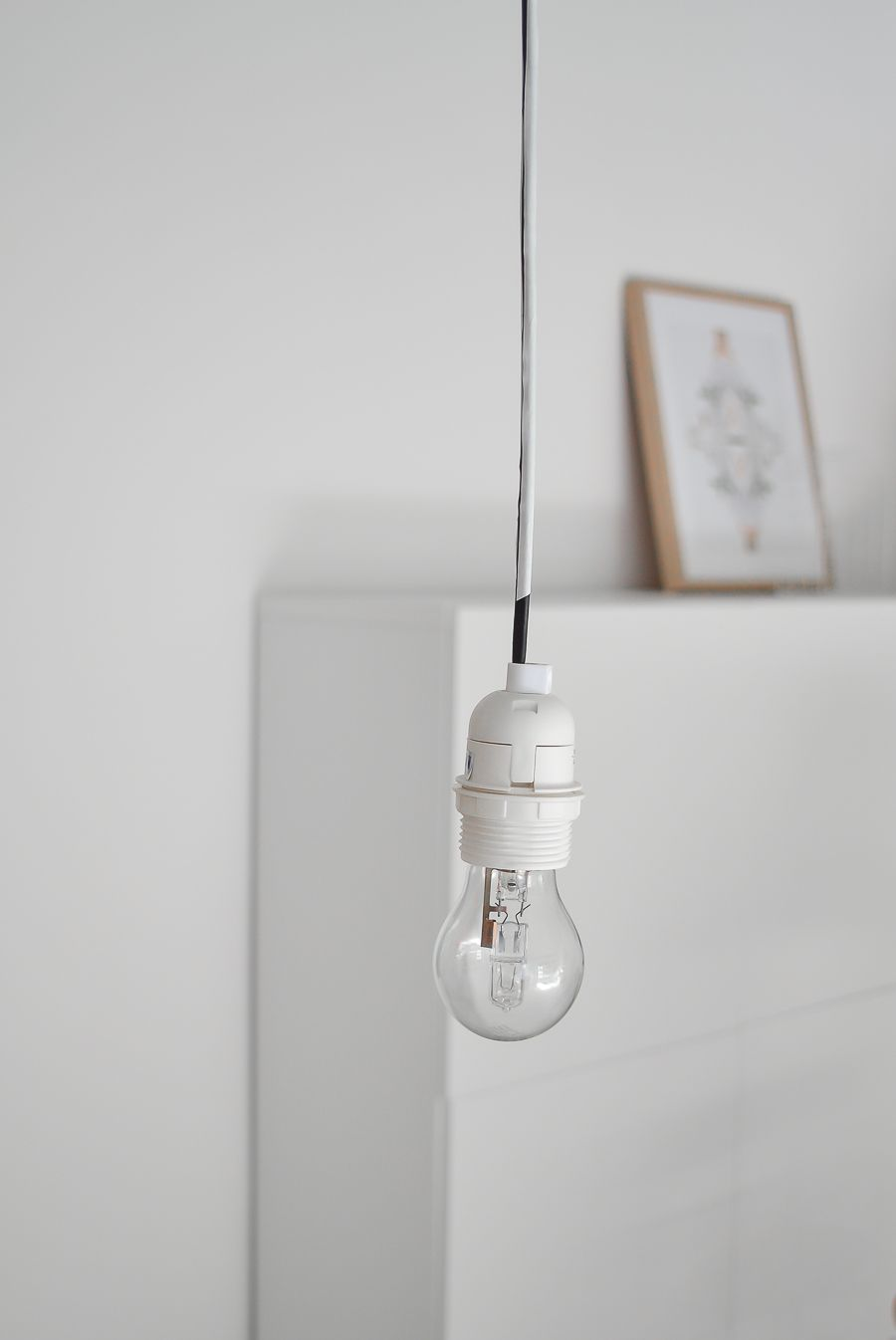 Wallpaper into a lampshade - lightbulb