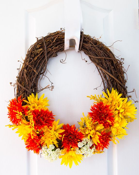 Warm and sunny fall wreath