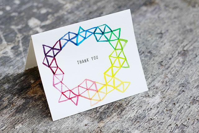 13 diy thank you cards to get ahead of the gifting game watercolor geo stationary solutioingenieria Images