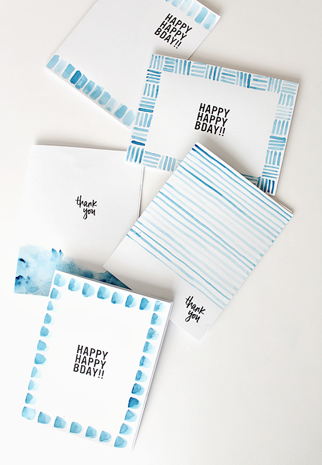 Watercolor pattern cards