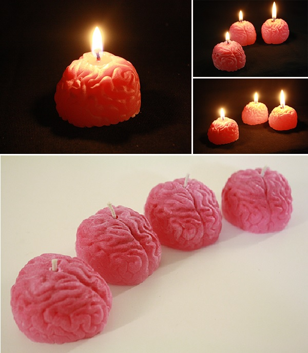 Wax and mold brain candle for halloween